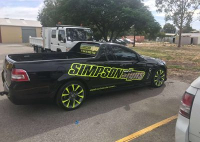 The Simpson Signs ute with a body wrap shows how effectively designed choice of colours can make your vehicle stand out in the crowd
