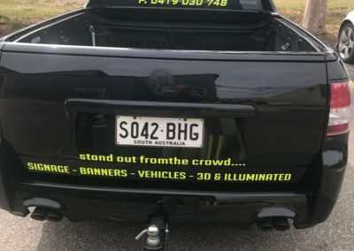 When you are considering vehicle or car signage don't forget the back your car because a lot of people are going to parked behind your car and have time to notice your signwriting