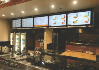 Indoor illuminated menu signs in a fast food outlet