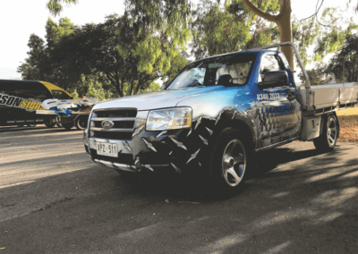 A UTE that has been body wrapped